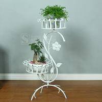 Fashion wrought iron floor ladder white balcony multi-layer flower pot holder