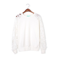 2013 autumn and winter flower lace cutout sleeve sweatshirt all-match gentlewomen t-shirt long-sleeve women's 722