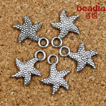 10pcs 13*16MM bronze & silver starfish pendant charms DIY Findings