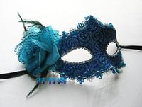 Handmade ball masks princess feather blindages women's mask flower blue and white porcelain series