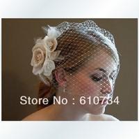 VH0806 Beautiful Twigs Honey Tulle Veil With Crystal Flower Women Wedding Accessories Bridal Hairwear