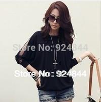 2014 new women's round neck long-sleeved shirt loose bat fat MM bat sleeve T-shirt