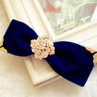 Rhinestone hair accessory hairpin spring hair accessory ol fashion star hair accessory navy blue bow