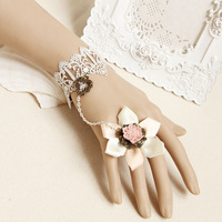 White lace vintage bracelet sweet pink ribbon flower vintage metal love garland bracelet ring  Wholesale