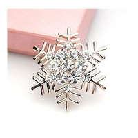 1pcs Free Shipping Silver Plated Rhinestone Snowflake Brooch Wholesale Brooch In Bulk A001