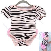 Free Shipping New Kids Girl Infant Short Sleeve Romper Zebra Bodysuit With Flower Hat Clothes