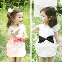 New Kids Toddlers Girls Party Pink/White Colour Sleeveless Bow Cotton Mini Dress Age2-7Y
