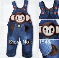 free shipping 2013 autumn children's cartoon monkey upright cowboy suspender trouser  Children's jeans