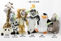 Fee Shipping Promotion Madagascar plush toys,dolls giraffe, hippo, lions, penguins, zebra, lemurs, 6 PCS/lot the lowest price