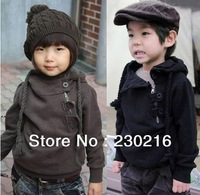 5pcs hot sale Boy Girl Hoodies Sweater baby children cotton Diagonal zipper Sweater tops coat ,kids autumn winter wear.