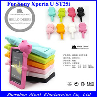 1pcs Freeshipping 8 Colors Cute Hello Deere Diffie Cat Silicone Soft Case With Dust Plug for Sony Xperia U ST25i + one Dust Plug