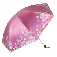 Newest 304e juzi petals anti-uv sun protection umbrella folding umbrella black color plastic