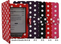 50pcs/lot Free shipping dot printed  PU Protective leather case for Amazon kindle 4/kindle 5 mixed color
