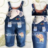 free shipping 2013 autumn children's cartoon elephant cowboy suspender trouser  Children's jeans