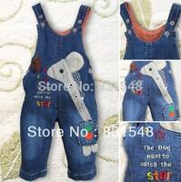 free shipping 2013 autumn children's cartoon giraffe cowboy suspender trouser  Children's jeans