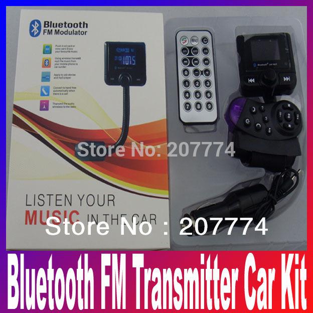 Car Kit Bluetooth Handsfree FM Transmitter Modulator SD MMC USB For iPhone iPod Pad Tablet phone call mp3 music Remote Player(China (Mainland))