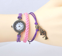 purple and pink thread horn Vintage lady watch bronze Beads Bracelet Watches by handmade [JCZL DIY Shop]
