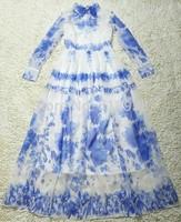 2013 new women blue white porcelain vintage floor length print chiffon dress bohemian long sleeve runway fashion maxi dresses