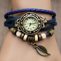 2013 high-quality women's bracelet watches ladies fashion  Woven with leaf shape watch student Wristwatches free shipping