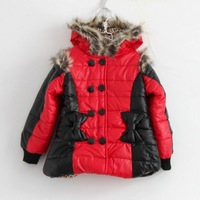 2013 3/4/5/6/7 age RU children coat  leather with fur collar jacket winter warm kids clothes girls outerwear