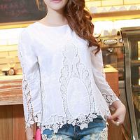 Solid color summer lace cotton cutout sleeve elegant wrist-length women's Women top sunscreen t-shirt white