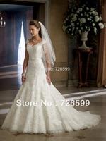 Free shipping 2015 New Style Elegant Long White/Ivory Lace V-Neck Cap Sleeve Beaded Bridal Gown Wedding Dresses Custom Size