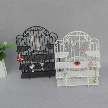 Home decor delicate craft Fashion small gift earrings rack jewelry holder iron mini furniture bookshelf display rack