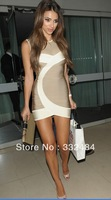 2013 Summer Celebrity Stylish New Beige Top Quality Women Sexy Bandage Dress Party wedding Wear Dress