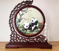 Decorative Flowers The panda  Double-sided embroidery  100% pure silk pure manual embroidery
