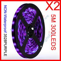 2 x 5M/Reel 12V 3528 Purple SMD NON-Waterproof Flexible LED Strip Lights 300 LEDs 60 LEDs/M Wholesale