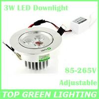 Drop Shipping Aluminum 3W Ceiling LED Downlight AC85-265V Adjustable Mini Down Light LED Spot 3 Watt LED Ceiling Down Lamp