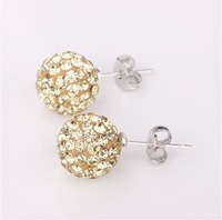 18.Shamballa Beads Earrings(20pieces/10pairs/Lot),Bottom Fitting Is Stainless Steel, Free shipping