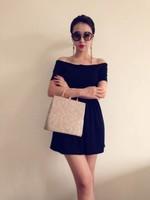 La boutique queen of ladies slit neckline strapless one-piece dress little black dress sexy all-match