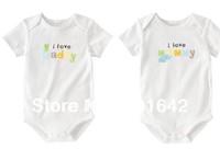 "Wholesale 2pcs/ bag Short Sleeve Infant Baby ""I LOVE MOM I LOVE DADDY ""Cotton Romper,Newborn Baby Body clothest 3 SETS/LOT"
