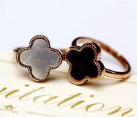Brand Lucky four leaf clover ring agate titanium rose gold ring finger ring female pinky ring hot sale