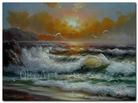 Handmade Impressionist Landscape Oil Painting Waves Sunrise Seascape Oil Painting Living Room Decorative Paintings