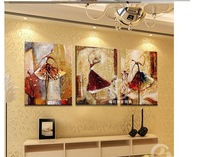 New Arrival 3 Panel 2013 Hot Selling Home Decoration Abstract Ballet Dancer Oil Paintings