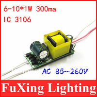 Factory out 1000pcs/lot,(6-10)x1W Common Use led driver,6W7W8W9W10W lamp transformer 85-265V for LED DIY free shipping