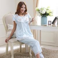 Summer Women 100% woven cotton sleepwear short-sleeve lounge set at home service plus size princess elegant rustic