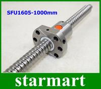 1pcs Ball screw SFU1605 - L1000mm+ 1pcs Ballscrew Ballnut for CNC with end machining