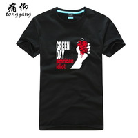 Cotton short-sleeve 100% T-shirt plus size available male Women green day green - 5