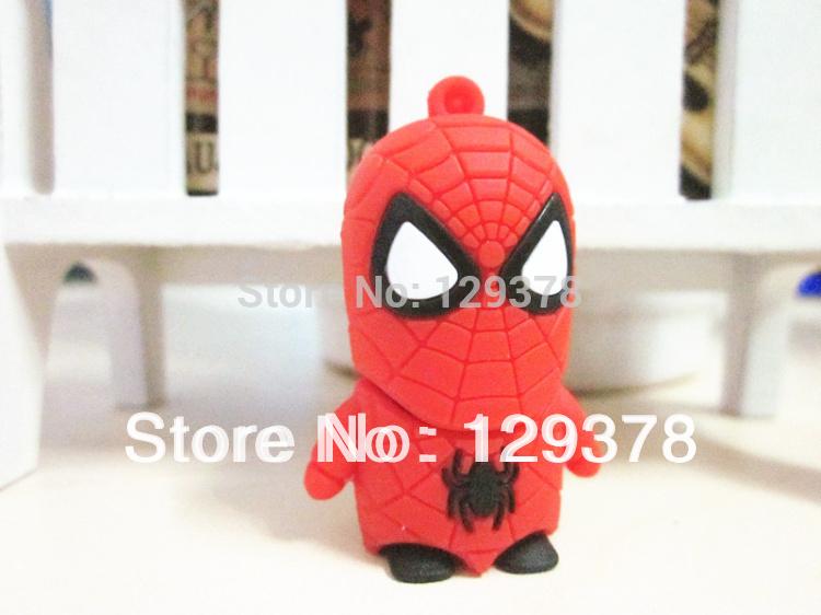 Free Shipping Gift USB Flash Drive Cartoon Spiderman Shape Pendrive 1G 2G 4G 8G 16G 32G Gift USB Drive(China (Mainland))