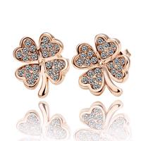 Fashion clovers earrings 2013 women allergy free earrings jewelry crystal earring(Min order 15)