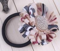 wholesal British style plaid daisy flower elastic hair band hair ties ponytail holder for kids girls hairbands Free shipping