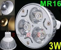 10pcs/lot,12V 3W MR16/GU5.3 White LED Light Led Lamp Bulb Spotlight Spot Light Free Shipping