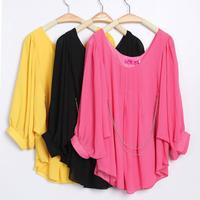 free shipping Summer women's top chiffon shirt plus size shirt o-neck slim  wholesale