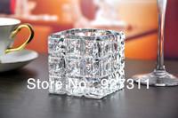 Free shipping Crystal cube tealight candle holder Ice shape glass craft elegant home decoration handmade telight candle holder