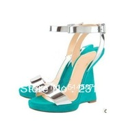 Free shipping women ankle strap wedge pumps high quality dress shoes summer sandals