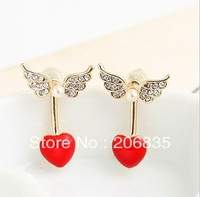 Fashion Jewelry 18K Gold Plated Angel Wings Earrings Heart Earring Pearl Earring