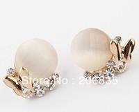 Fashion Jewelry 18K Gold Plated Butterfly Earrings Round Cat Eye Stone Earring
